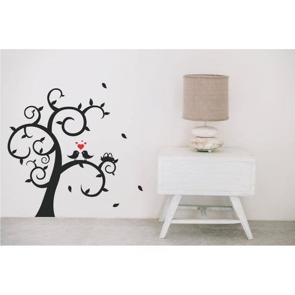 Tree With Birds And Heart Vinyl Wall Art