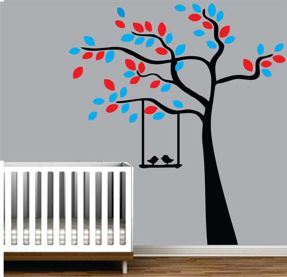 Tree With Birds On A Swing Vinyl Wall Art