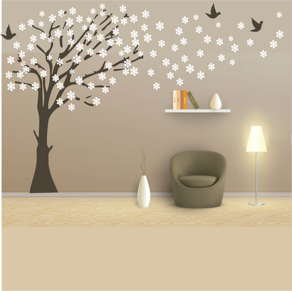 Tree With Blowing Leaves Vinyl Wall Art