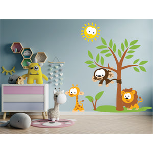 Tree With Funny Animals Vinyl Wall Art