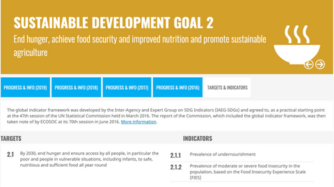 An example of a target and associated indicators for UN SDG 2: No Hunger
