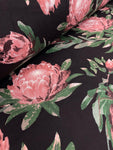 Cotton Twill Prints - Black Protea