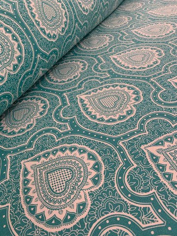 Cotton Twill Prints - Afro Damask Turquoise