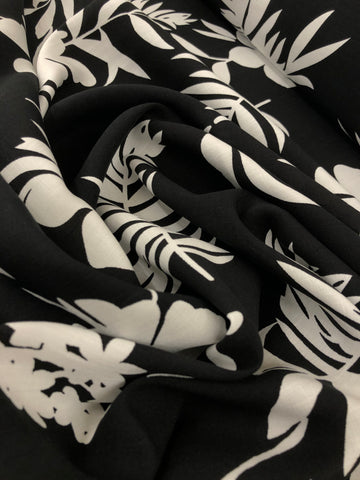 Viscose Woven - Midnight Leaf
