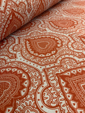 Cotton Twill Prints - Afro Damask Red