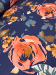 Abstract Spandex - Navy Rose