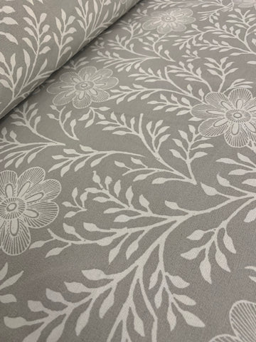 Cotton Twill Prints - Khanga Flower Silver