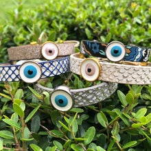 Load image into Gallery viewer, Leather Mati (evil eye) Bracelet