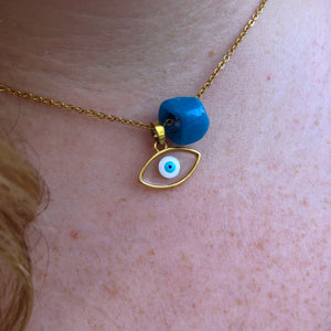 Glass Evil Eye with Turquoise Bead