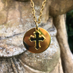 Round Pendant with Cross Necklace