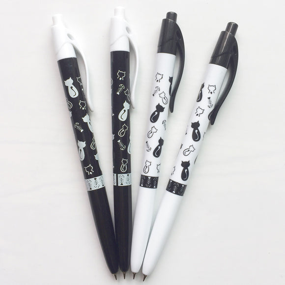 Cat pattern ballpoint pen for cat lovers blue ink black and white design