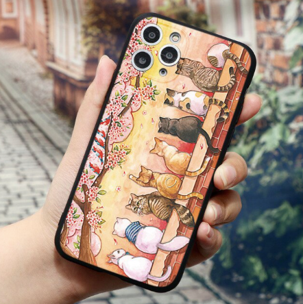embossed sunset cat case 8 cats sitting on brick wall under cherry tree iphone