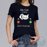 my cat is calling funny cat print t-shirt