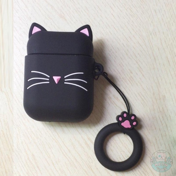 Cute black cat silicone airpod case for cat lovers accessories