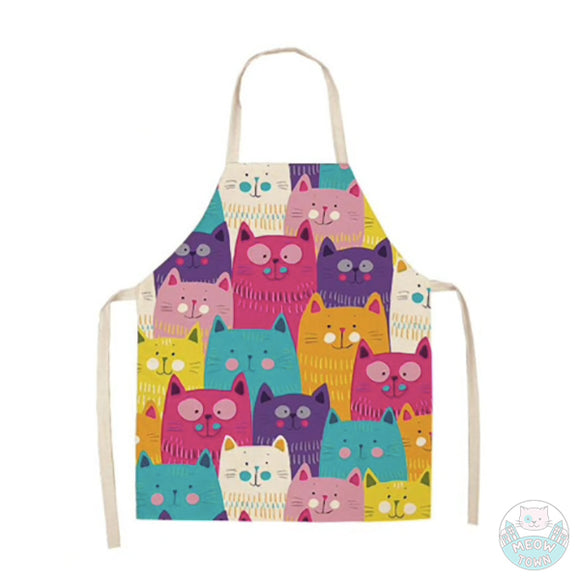 multicolour cartoon cats linen apron kitchen baking cooking cat lover gift accessories vivid