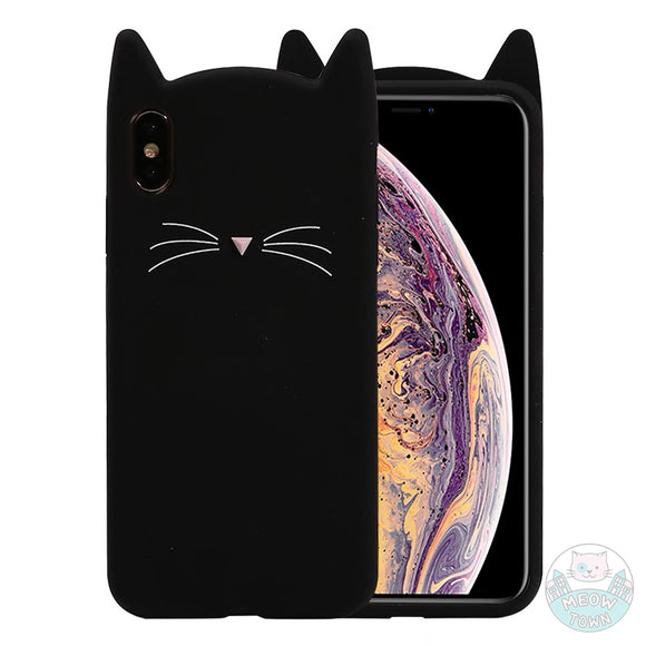 black cat iphone case for cat lovers gift phone accessories silicone stud pink nose