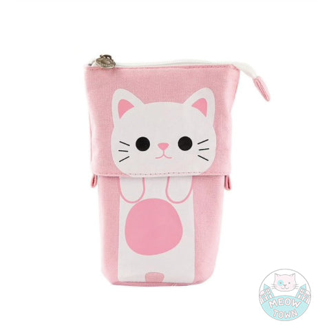 pencil case adjustable cute cat pink