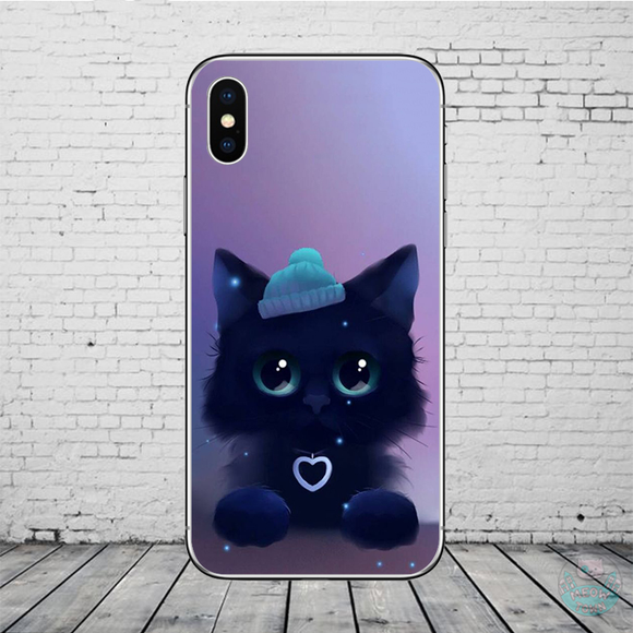 black kitten in knitted hat heart design iphone case for cat lovers purple dark