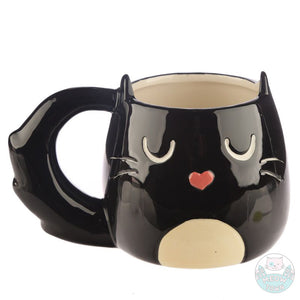 Enjoy your favourite drink from this lovely cat shaped porcelain mug  Black and white colour, fluffy tail and cute cat face with heart shaped nose cat gift