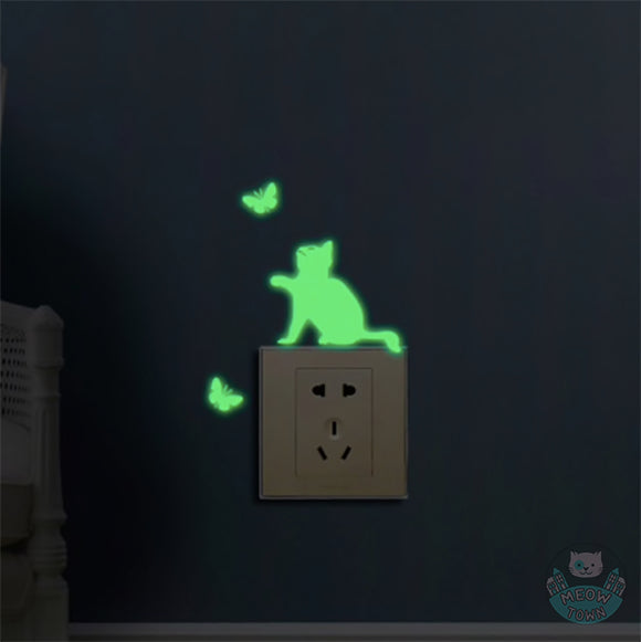 Glow in the dark cute cat with butterfly butterflies switch wall sticker bedroom living room kids