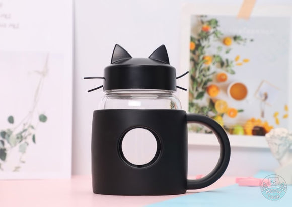 Cat mug travel cup silicone glass mug with whiskers cat ears black colour