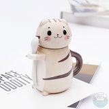 Super cute ceramic cat jug with spoon  Cute cream / cookie colour kitty painting  Perfect jug for coffee, tea, or use it as a container for sugar, salt.