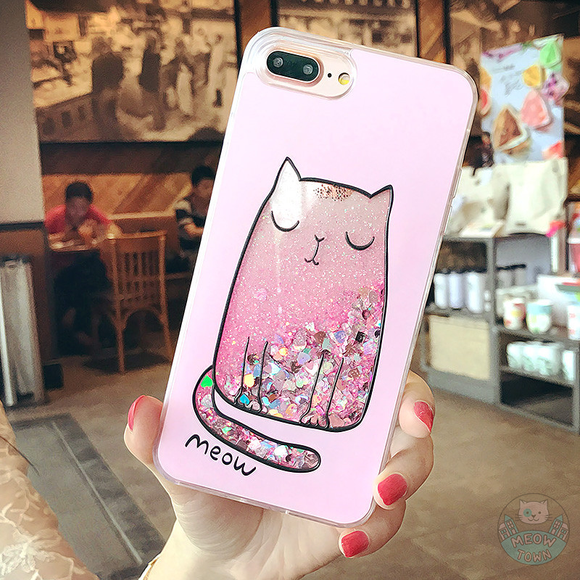liquid iphone case for cat lovers glitters meow