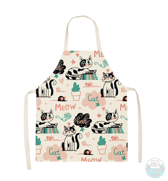 Cute cat kitten apron linen kitchen home accessories gift for cat lovers Meow print