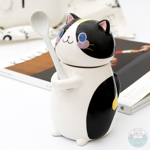 Cute ceramic jug hand painted tuxedo design with spoon. home gift for cat lovers