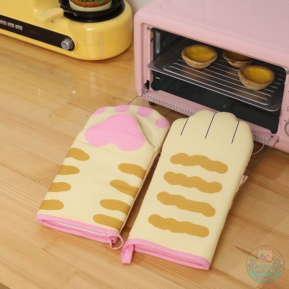 oven mitt cat paws insulation gloves kitten kitchen accessories orange ginger