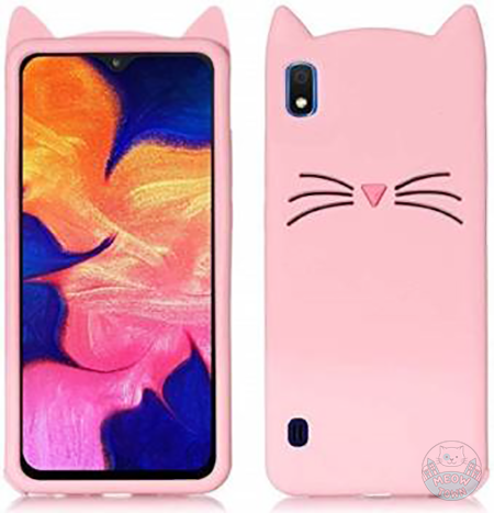 pink cat design cat ears silicone samsung case