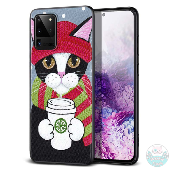 winter samsung cat case phone case for cat lovers