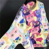 Multicolour oversized cat sweater knitted cardigan vivid colours soft cartoon cats style