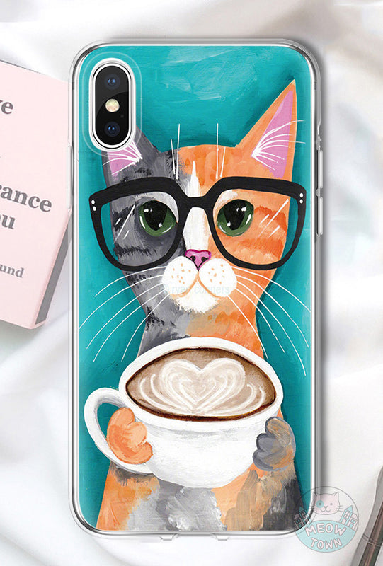 iphone case cat with coffee for cat lovers ginger grey cat cappuccino in glasses