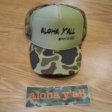Aloha Y'all Camo Trucker Hat & Sticker Combo