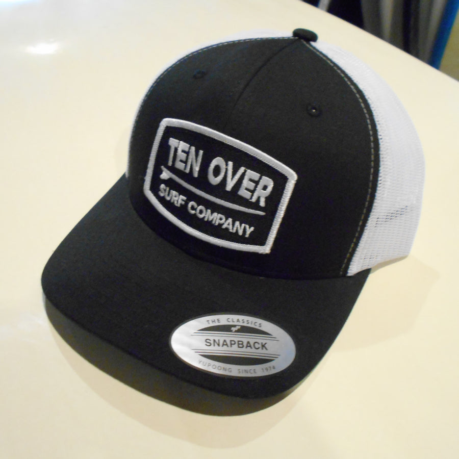 Ten Over Black with White Mesh Snap Back Hat