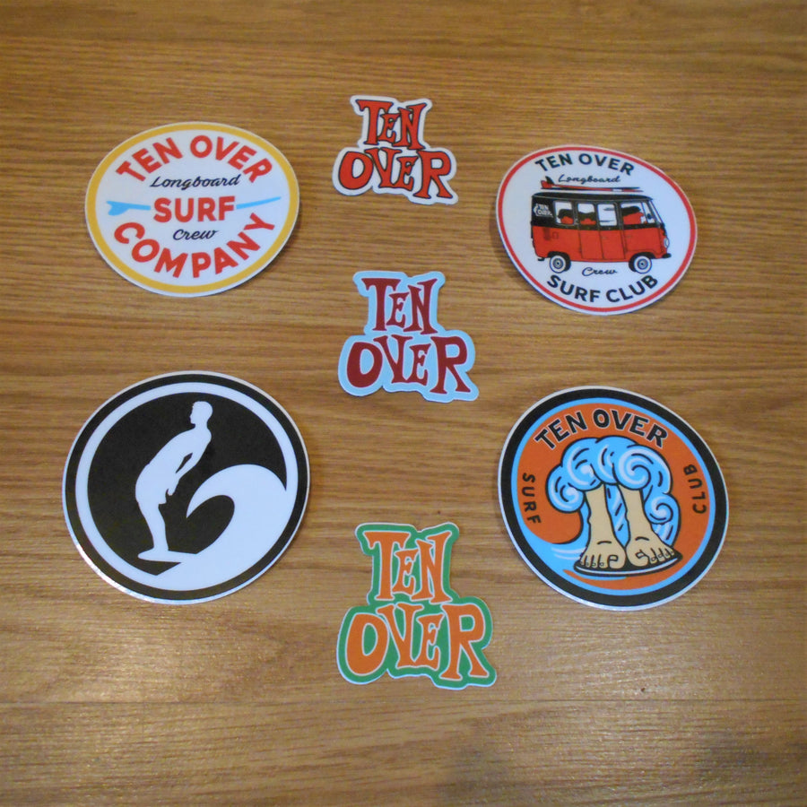 Ten Over Surf Company Sticker Pack