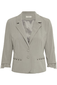 Cream Verona Blazer 3/4 Arm mit Rüsche & Nieten Schmuck 61013 Light Grey Melange