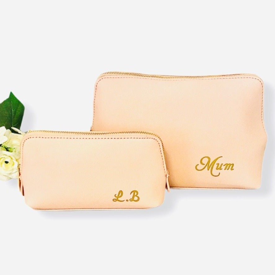 Personalised Small Pink Leather Look Bag With Initials