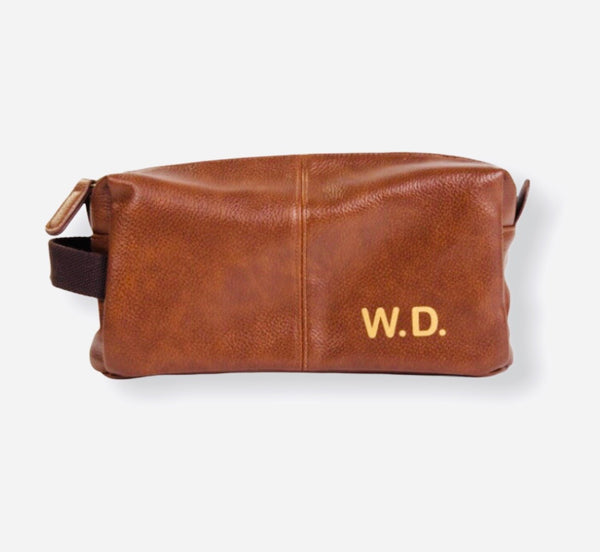 Personalised Tan Wash Bag