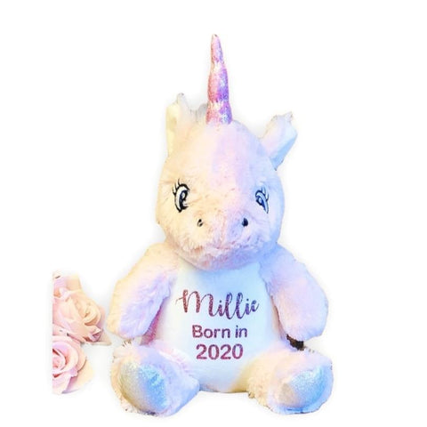 Born in 2020 Personalised Baby Gift - Unicorn Teddy