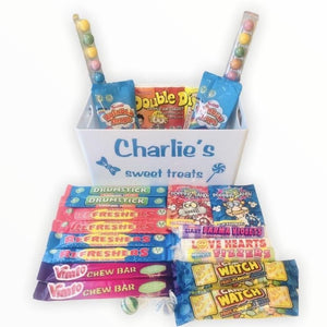 Retro Sweet Hamper With Personalised Tray