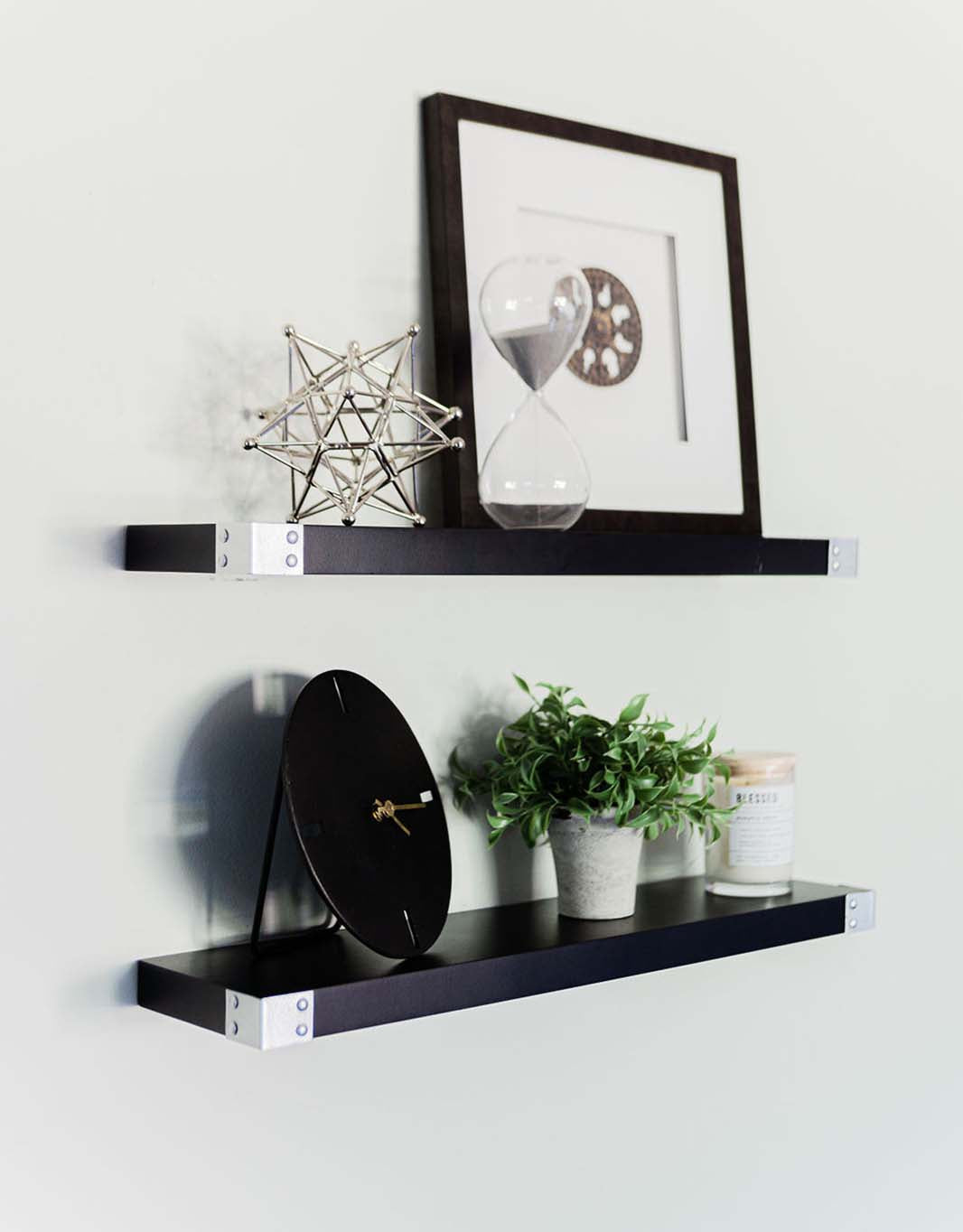The Raja - Black Floating Shelves with Silver Iron Corners, All Wood Wall Shelves, 3 Coat Lacquer Finish - Set of 2 - Bedroom, Bathroom, Kitchen - 24 x 6 x 1.5 in)