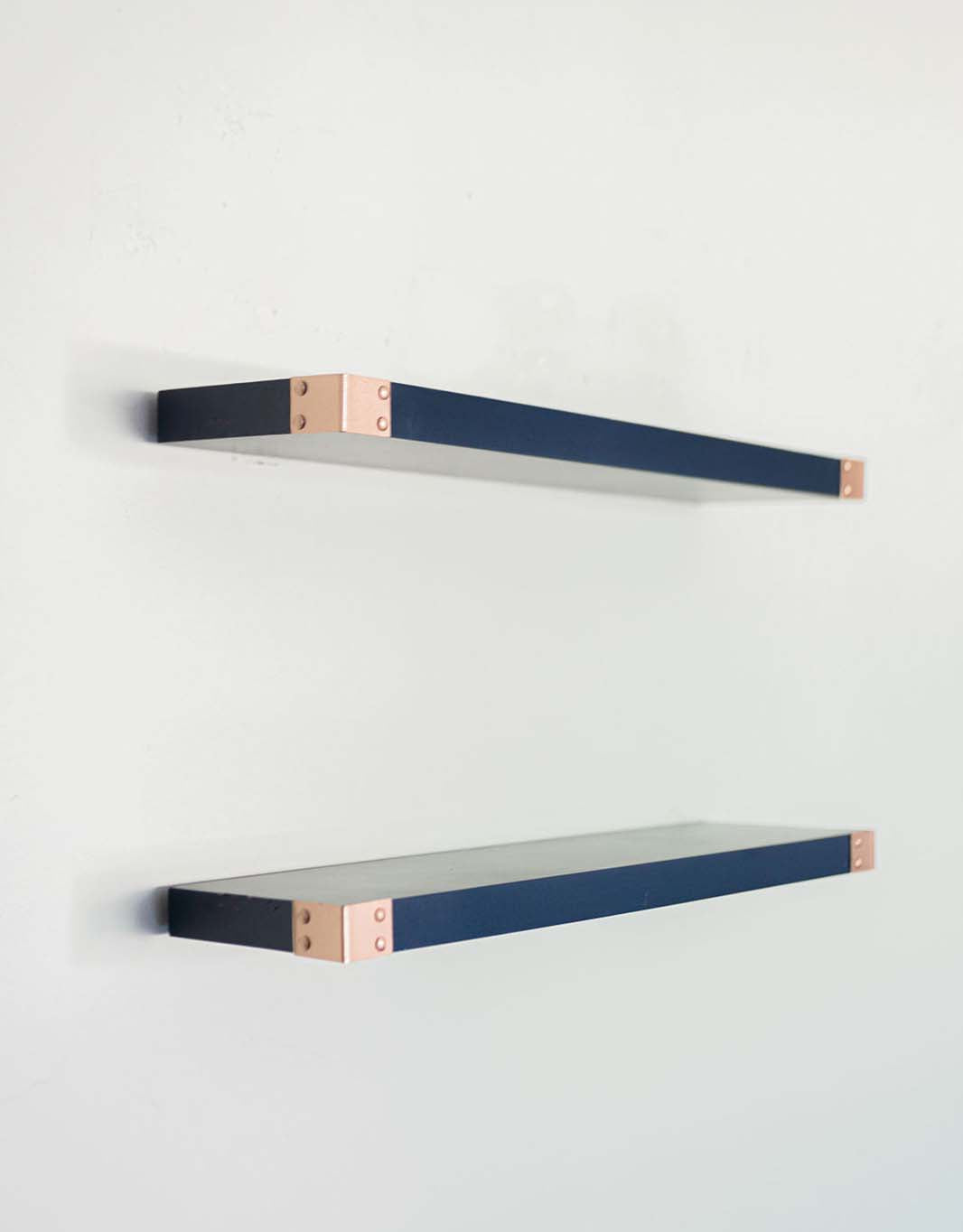 The Eli - Dark Blue Floating Shelves with Rose Gold Decorative Iron Corners, Modern All Wood Wall Shelves - Set of 2 - Bedroom, Bathroom, Kitchen - 24 x 6 x 1.5 in