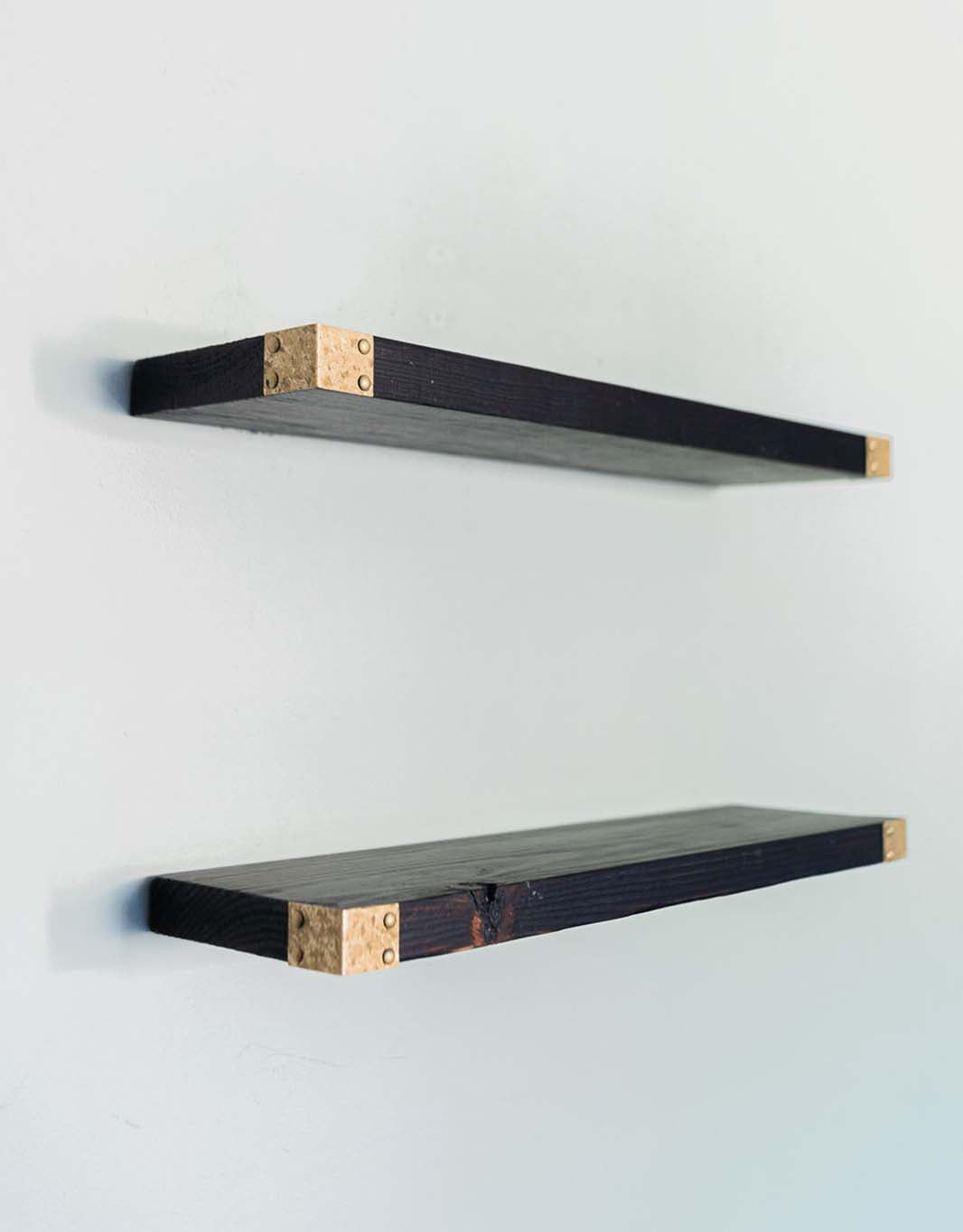 The Rowan - Deep Brown Floating Shelves with Gold Iron Corners, All Wood Wall Shelves, Triple Burn Finish - Set of 2 - Bedroom, Bathroom, Kitchen - 24 x 6 x 1.5 in