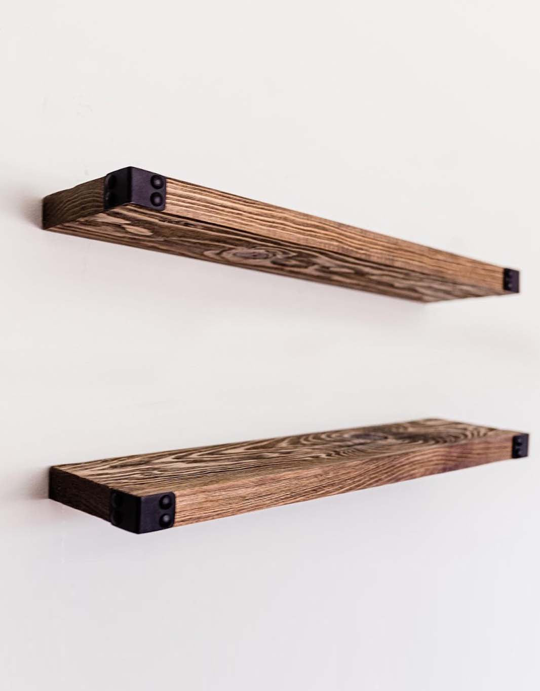 The Dennis - Floating Shelves for Wall Mounted, Modern Rustic All Wood Wall Shelves, Set of 2 for Bedroom, Bathroom, Family Room, Kitchen with Decorative Iron Corners 24 x 6 x 1.5 in