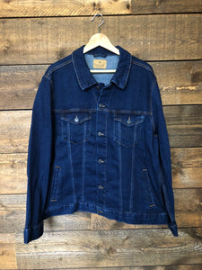 Unisex dark wash denim jacket, size XL