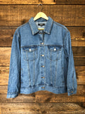 Women's relaxed fit mid wash denim jacket, size XL