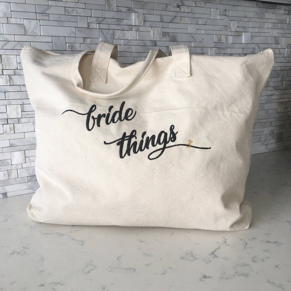Bride Things Weekender Zippered Tote Bag