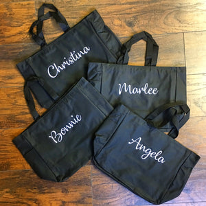 Custom Text Zippered Tote Bags
